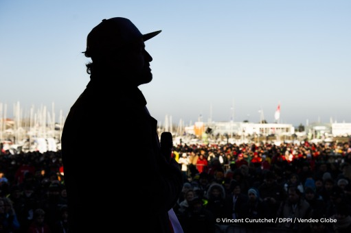 Ambiance podium and contrejour at Finish arrival of Alex Thomson (GBR), skipper Hugo Boss, 2nd place of the sailing circumnavigation solo race Vendee Globe, in Les Sables d'Olonne, France, on January 20th, 2017 - Photo Vincent Curutchet / DPPI / Vendee Gl