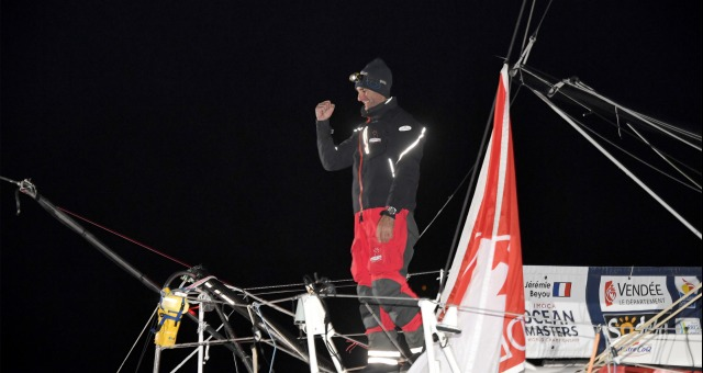 Finish arrival of Jeremie Beyou (FRA), skipper Maitre Coq, 3rd of the sailing circumnavigation solo race Vendee Globe, in Les Sables d'Olonne, France, on January 23rd, 2017 - Photo Vincent Curutchet / DPPI / Vendee GlobeArrivée de Jeremie Beyou (FRA), s