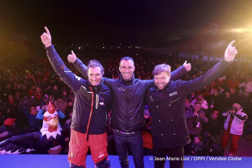 Podium after Finish arrival of Jeremie Beyou (FRA), skipper Maitre Coq, 3rd of the sailing circumnavigation solo race Vendee Globe, in Les Sables d'Olonne, France, on January 23rd, 2017 - Photo Jean Marie Liot / DPPI / Vendee GlobeArrivée de Jeremie Beyou (FRA), skipper Maitre Coq, 3ème du Vendee Globe, aux Sables d'Olonne, France, le 23 Janvier 2017 - Photo Jean Marie Liot / DPPI / Vendee Globe