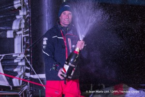 Finish arrival of Jeremie Beyou (FRA), skipper Maitre Coq, 3rd of the sailing circumnavigation solo race Vendee Globe, in Les Sables d'Olonne, France, on January 23rd, 2017 - Photo Jean Marie Liot / DPPI / Vendee Globe