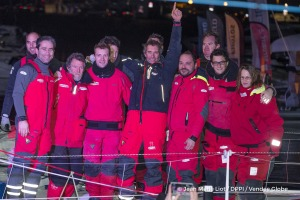Team during Finish arrival of Jeremie Beyou (FRA), skipper Maitre Coq, 3rd of the sailing circumnavigation solo race Vendee Globe, in Les Sables d'Olonne, France, on January 23rd, 2017 - Photo Jean Marie Liot / DPPI / Vendee GlobeArrivée de Jeremie Beyou (FRA), skipper Maitre Coq, 3ème du Vendee Globe, aux Sables d'Olonne, France, le 23 Janvier 2017 - Photo Jean Marie Liot / DPPI / Vendee Globe