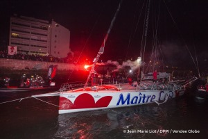 Channel ambiance during Finish arrival of Jeremie Beyou (FRA), skipper Maitre Coq, 3rd of the sailing circumnavigation solo race Vendee Globe, in Les Sables d'Olonne, France, on January 23rd, 2017 - Photo Jean Marie Liot / DPPI / Vendee Globe