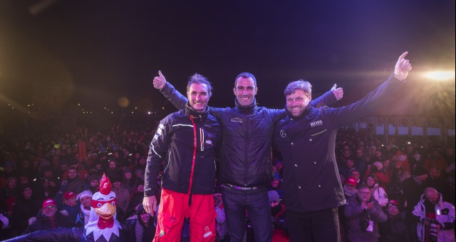 Podium with Armel Le Cleac'h (FRA), skipper Banque Populaire VIII, (winner), Alex Thomson (GBR), skipper Hugo Boss, (2nd) and Jeremie Beyou (FRA), skipper Maitre Coq, 3rd of the sailing circumnavigation solo race Vendee Globe, in Les Sables d'Olonne, France, on January 23rd, 2017 - Photo Jean Marie Liot / DPPI / Vendee GlobeArrivée de Jeremie Beyou (FRA), skipper Maitre Coq, 3ème du Vendee Globe
