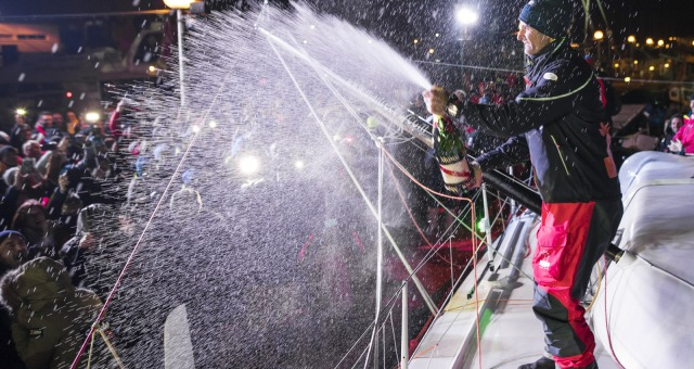 Celebration with Mumm champagne after Finish arrival of Jeremie Beyou (FRA), skipper Maitre Coq, 3rd of the sailing circumnavigation solo race Vendee Globe, in Les Sables d'Olonne, France, on January 23rd, 2017 - Photo Vincent Curutchet / DPPI / Vendee GlobeSplash champagne Mumm à l'Arrivée de Jeremie Beyou (FRA), skipper Maitre Coq, 3ème du Vendee Globe, aux Sables d'Olonne, France, le 23 Janvi