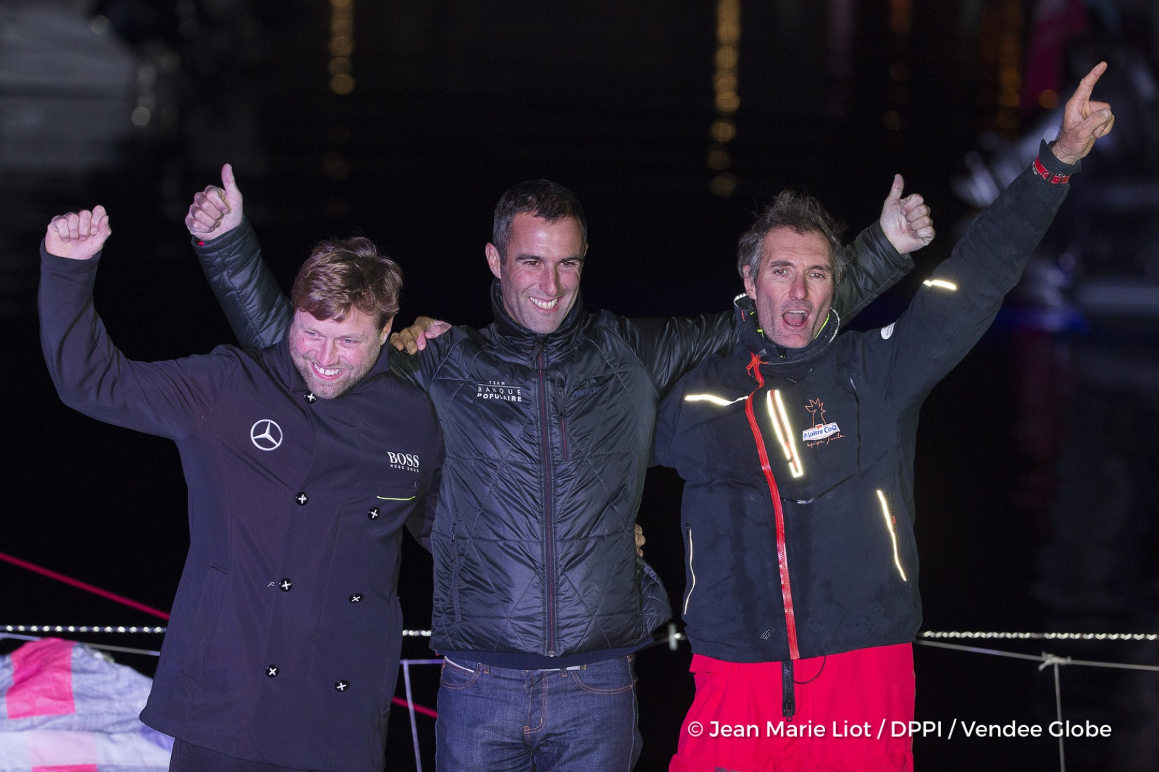 Podium with Armel Le Cleac'h (FRA), skipper Banque Populaire VIII, (winner), Alex Thomson (GBR), skipper Hugo Boss, (2nd) and Jeremie Beyou (FRA), skipper Maitre Coq, 3rd of the sailing circumnavigation solo race Vendee Globe, in Les Sables d'Olonne, France, on January 23rd, 2017 - Photo Jean Marie Liot / DPPI / Vendee Globe