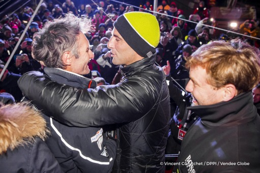 Winner Armel Le Cleac'h (FRA), skipper Banque Populaire VIII, congratulations with Alex Thomson (GBR), skipper Hugo Boss, (2nd) after Finish arrival of Jeremie Beyou (FRA), skipper Maitre Coq, 3rd of the sailing circumnavigation solo race Vendee Globe, in Les Sables d'Olonne, France, on January 23rd, 2017 - Photo Vincent Curutchet / DPPI / Vendee GlobeFélicitations du vainqueur Armel Le Cleac'h