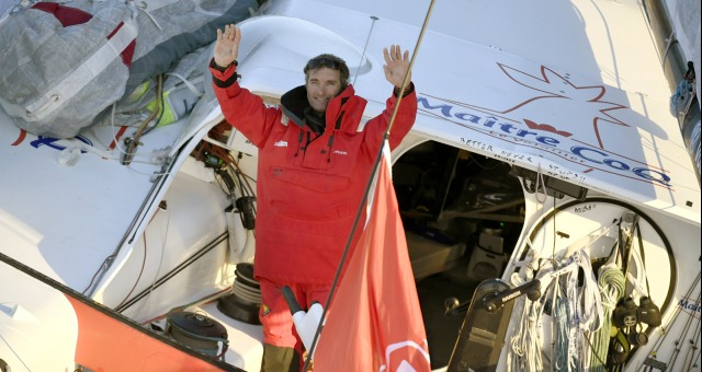 Finish arrival of Jeremie Beyou (FRA), skipper Maitre Coq, 3rd of the sailing circumnavigation solo race Vendee Globe, in Les Sables d'Olonne, France, on January 23rd, 2017 - Photo Olivier Blanchet / DPPI / Vendee GlobeArrivée de Jeremie Beyou (FRA), skipper Maitre Coq, 3ème du Vendee Globe, aux Sables d'Olonne, France, le 23 Janvier 2017 - Photo Olivier Blanchet / DPPI / Vendee Globe