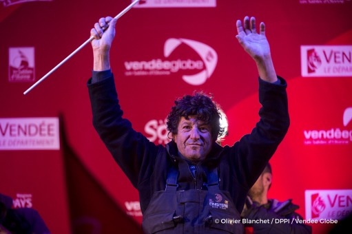 Podium at Finish arrival of Jean Le Cam (FRA), skipper Finistere Mer Vent, 6th of the sailing circumnavigation solo race Vendee Globe, in Les Sables d'Olonne, France, on January 25th, 2017 - Photo Olivier Blanchet / DPPI / Vendee GlobePodium à l'arrivée de Jean Le Cam (FRA), skipper Finistere Mer Vent, 6ème du Vendee Globe, aux Sables d'Olonne, France, le 25 Janvier 2017 - Photo Olivier Blanchet