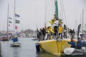 Finish arrival of Louis Burton (FRA), skipper Bureau Vallee, 7th of the sailing circumnavigation solo race Vendee Globe, in Les Sables d'Olonne, France, on February 2nd, 2017 - Photo Olivier Blanchet / DPPI / Vendee Globe