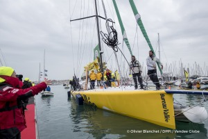 Finish arrival of Louis Burton (FRA), skipper Bureau Vallee, 7th of the sailing circumnavigation solo race Vendee Globe, in Les Sables d'Olonne, France, on February 2nd, 2017 - Photo Olivier Blanchet / DPPI / Vendee GlobeArrivée de Louis Burton (FRA), skipper Bureau Vallee, 7ème du Vendee Globe, aux Sables d'Olonne, France, le 2 Février 2017 - Photo Olivier Blanchet / DPPI / Vendee Globe