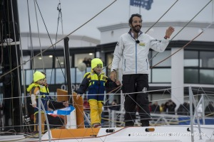 Channel and family ambiance during Finish arrival of Louis Burton (FRA), skipper Bureau Vallee, 7th of the sailing circumnavigation solo race Vendee Globe, in Les Sables d'Olonne, France, on February 2nd, 2017 - Photo Olivier Blanchet / DPPI / Vendee GlobeArrivée de Louis Burton (FRA), skipper Bureau Vallee, 7ème du Vendee Globe, aux Sables d'Olonne, France, le 2 Février 2017 - Photo Olivier Bla