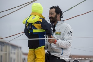 Channel and family ambiance during Finish arrival of Louis Burton (FRA), skipper Bureau Vallee, 7th of the sailing circumnavigation solo race Vendee Globe, in Les Sables d'Olonne, France, on February 2nd, 2017 - Photo Olivier Blanchet / DPPI / Vendee Globe