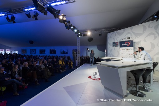 Press conference during finish arrival of Louis Burton (FRA), skipper Bureau Vallee, 7th of the sailing circumnavigation solo race Vendee Globe, in Les Sables d'Olonne, France, on February 2nd, 2017 - Photo Olivier Blanchet / DPPI / Vendee GlobeConférence de presse à l'arrivée de Louis Burton (FRA), skipper Bureau Vallee, 7ème du Vendee Globe, aux Sables d'Olonne, France, le 2 Février 2017 - Pho