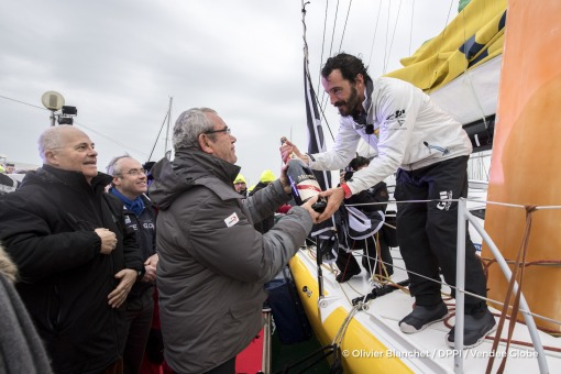 Yves Auvinet (CG85 President) congratulates with Mumm champagne during Finish arrival of Louis Burton (FRA), skipper Bureau Vallee, 7th of the sailing circumnavigation solo race Vendee Globe, in Les Sables d'Olonne, France, on February 2nd, 2017 - Photo Olivier Blanchet / DPPI / Vendee GlobeArrivée de Louis Burton (FRA), skipper Bureau Vallee, 7ème du Vendee Globe, aux Sables d'Olonne, France, l