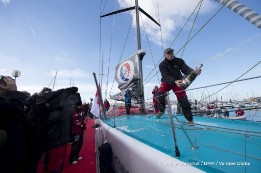 Celebration Mumm champagne at pontoon during finish arrival of Nandor Fa (HUN), skipper Spirit of Hungary, 8th of the sailing circumnavigation solo race Vendee Globe, in Les Sables d'Olonne, France, on February 8th, 2017 - Photo Olivier Blanchet / DPPI / Vendee GlobeCelebration au champagne Mumm au ponton à l'arrivée de Nandor Fa (HUN), skipper Spirit of Hungary, 8ème du Vendee Globe, aux Sables