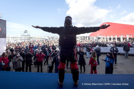 Podium during finish arrival of Nandor Fa (HUN), skipper Spirit of Hungary, 8th of the sailing circumnavigation solo race Vendee Globe, in Les Sables d'Olonne, France, on February 8th, 2017 - Photo Olivier Blanchet / DPPI / Vendee GlobePodium à l'arrivée de Nandor Fa (HUN), skipper Spirit of Hungary, 8ème du Vendee Globe, aux Sables d'Olonne, France, le 8 Février 2017 - Photo Olivier Blanchet /
