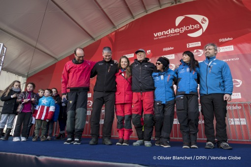 Podium team and family during finish arrival of Nandor Fa (HUN), skipper Spirit of Hungary, 8th of the sailing circumnavigation solo race Vendee Globe, in Les Sables d'Olonne, France, on February 8th, 2017 - Photo Olivier Blanchet / DPPI / Vendee GlobePodium équipe et famille à l'arrivée de Nandor Fa (HUN), skipper Spirit of Hungary, 8ème du Vendee Globe, aux Sables d'Olonne, France, le 8 Févrie