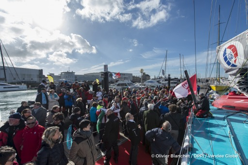 Media at pontoon during finish arrival of Nandor Fa (HUN), skipper Spirit of Hungary, 8th of the sailing circumnavigation solo race Vendee Globe, in Les Sables d'Olonne, France, on February 8th, 2017 - Photo Olivier Blanchet / DPPI / Vendee GlobeArrivée de Nandor Fa (HUN), skipper Spirit of Hungary, 8ème du Vendee Globe, aux Sables d'Olonne, France, le 8 Février 2017 - Photo Olivier Blanchet / D