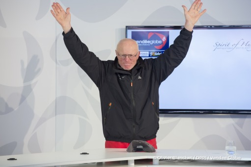 Press conference at Finish arrival of Nandor Fa (HUN), skipper Spirit of Hungary, 8th of the sailing circumnavigation solo race Vendee Globe, in Les Sables d'Olonne, France, on February 8th, 2017 - Photo Olivier Blanchet / DPPI / Vendee GlobePodium à l'arrivée de Nandor Fa (HUN), skipper Spirit of Hungary, 8ème du Vendee Globe, aux Sables d'Olonne, France, le 8 Février 2017 - Photo Olivier Blanc