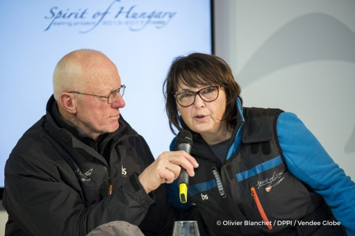 Press conference at Finish arrival of Nandor Fa (HUN), skipper Spirit of Hungary, 8th of the sailing circumnavigation solo race Vendee Globe, with his wife Iren, in Les Sables d'Olonne, France, on February 8th, 2017 - Photo Olivier Blanchet / DPPI / Vendee GlobeConférence de presse à l'arrivée de Nandor Fa (HUN), skipper Spirit of Hungary, 8ème du Vendee Globe, avec sa femme Iren, aux Sables d'O