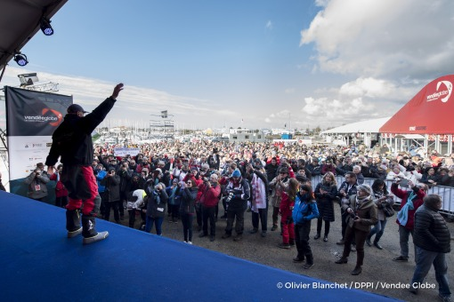Celebration on podium during finish arrival of Nandor Fa (HUN), skipper Spirit of Hungary, 8th of the sailing circumnavigation solo race Vendee Globe, in Les Sables d'Olonne, France, on February 8th, 2017 - Photo Olivier Blanchet / DPPI / Vendee GlobeJoie sur le podium à l'arrivée de Nandor Fa (HUN), skipper Spirit of Hungary, 8ème du Vendee Globe, aux Sables d'Olonne, France, le 8 Février 2017