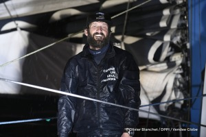 Celebration at pontoon during Finish arrival of Eric Bellion (FRA), skipper Comme Un Seul Homme, 9th of the sailing circumnavigation solo race Vendee Globe, in Les Sables d'Olonne, France, on February 13th, 2017 - Photo Olivier Blanchet / DPPI / Vendee GlobeArrivée de Eric Bellion (FRA), skipper Comme Un Seul Homme, 9ème du Vendee Globe, aux Sables d'Olonne, France, le 13 Février 2017 - Photo Ol