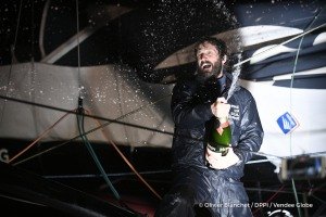 Celebration with Mumm champagne at pontoon during Finish arrival of Eric Bellion (FRA), skipper Comme Un Seul Homme, 9th of the sailing circumnavigation solo race Vendee Globe, in Les Sables d'Olonne, France, on February 13th, 2017 - Photo Olivier Blanchet / DPPI / Vendee GlobeArrivée de Eric Bellion (FRA), skipper Comme Un Seul Homme, 9ème du Vendee Globe, aux Sables d'Olonne, France, le 13 Fév
