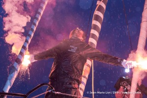 Flares celebration in the channel during Finish arrival of Eric Bellion (FRA), skipper Comme Un Seul Homme, 9th of the sailing circumnavigation solo race Vendee Globe, in Les Sables d'Olonne, France, on February 13th, 2017 - Photo Jean-Marie Liot / DPPI / Vendee GlobeArrivée de Eric Bellion (FRA), skipper Comme Un Seul Homme, 9ème du Vendee Globe, aux Sables d'Olonne, France, le 13 Février 2017