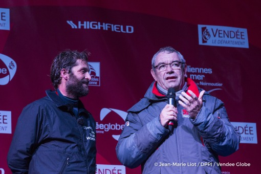 Podium with Yves Auvinet (CG85 President) during Finish arrival of Eric Bellion (FRA), skipper Comme Un Seul Homme, 9th of the sailing circumnavigation solo race Vendee Globe, in Les Sables d'Olonne, France, on February 13th, 2017 - Photo Jean-Marie Liot / DPPI / Vendee GlobeArrivée de Eric Bellion (FRA), skipper Comme Un Seul Homme, 9ème du Vendee Globe, aux Sables d'Olonne, France, le 13 Févri