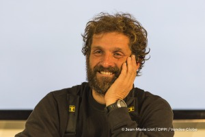 Press conference during Finish arrival of Eric Bellion (FRA), skipper Comme Un Seul Homme, 9th of the sailing circumnavigation solo race Vendee Globe, in Les Sables d'Olonne, France, on February 13th, 2017 - Photo Jean-Marie Liot / DPPI / Vendee Globe