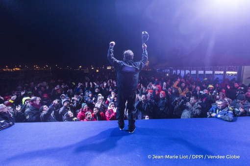 Podium during Finish arrival of Eric Bellion (FRA), skipper Comme Un Seul Homme, 9th of the sailing circumnavigation solo race Vendee Globe, in Les Sables d'Olonne, France, on February 13th, 2017 - Photo Jean-Marie Liot / DPPI / Vendee GlobeArrivée de Eric Bellion (FRA), skipper Comme Un Seul Homme, 9ème du Vendee Globe, aux Sables d'Olonne, France, le 13 Février 2017 - Photo Jean-Marie Liot / D