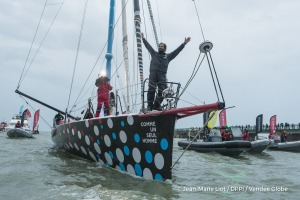 Celebration in channel during Finish arrival of Eric Bellion (FRA), skipper Comme Un Seul Homme, 9th of the sailing circumnavigation solo race Vendee Globe, in Les Sables d'Olonne, France, on February 13th, 2017 - Photo Jean-Marie Liot / DPPI / Vendee Globe