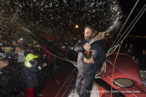 Celebration at pontoon with Mum champagne during Finish arrival of Eric Bellion (FRA), skipper Comme Un Seul Homme, 9th of the sailing circumnavigation solo race Vendee Globe, in Les Sables d'Olonne, France, on February 13th, 2017 - Photo Jean-Marie Liot / DPPI / Vendee GlobeArrivée de Eric Bellion (FRA), skipper Comme Un Seul Homme, 9ème du Vendee Globe, aux Sables d'Olonne, France, le 13 Févri