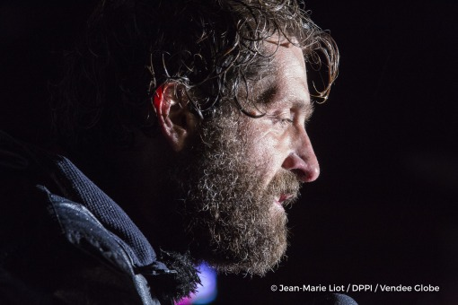 Media at pontoon during Finish arrival of Eric Bellion (FRA), skipper Comme Un Seul Homme, 9th of the sailing circumnavigation solo race Vendee Globe, in Les Sables d'Olonne, France, on February 13th, 2017 - Photo Jean-Marie Liot / DPPI / Vendee GlobeArrivée de Eric Bellion (FRA), skipper Comme Un Seul Homme, 9ème du Vendee Globe, aux Sables d'Olonne, France, le 13 Février 2017 - Photo Jean-Mari