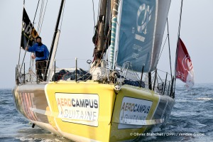 Finish arrival of Arnaud Boissieres (FRA), skipper La Mie Caline, 10th of the sailing circumnavigation solo race Vendee Globe, in Les Sables d'Olonne, France, on February 17th, 2017 - Photo Olivier Blanchet / DPPI / Vendee GlobeArrivée de Arnaud Boissieres (FRA), skipper La Mie Caline, 10ème du Vendee Globe, aux Sables d'Olonne, France, le 17 Février 2017 - Photo Olivier Blanchet / DPPI / Vendee