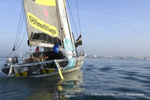 Finish arrival of Arnaud Boissieres (FRA), skipper La Mie Caline, 10th of the sailing circumnavigation solo race Vendee Globe, in Les Sables d'Olonne, France, on February 17th, 2017 - Photo Olivier Blanchet / DPPI / Vendee Globe