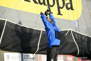 Celebration during Finish arrival of Arnaud Boissieres (FRA), skipper La Mie Caline, 10th of the sailing circumnavigation solo race Vendee Globe, in Les Sables d'Olonne, France, on February 17th, 2017 - Photo Olivier Blanchet / DPPI / Vendee GlobeArrivée de Arnaud Boissieres (FRA), skipper La Mie Caline, 10ème du Vendee Globe, aux Sables d'Olonne, France, le 17 Février 2017 - Photo Olivier Blanc