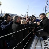 Celebration with Mumm champagne during Finish arrival of Arnaud Boissieres (FRA), skipper La Mie Caline, 10th of the sailing circumnavigation solo race Vendee Globe, in Les Sables d'Olonne, France, on February 17th, 2017 - Photo Olivier Blanchet / DPPI / Vendee GlobeArrivée de Arnaud Boissieres (FRA), skipper La Mie Caline, 10ème du Vendee Globe, aux Sables d'Olonne, France, le 17 Février 2017 -