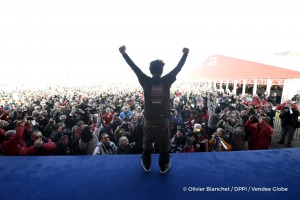 Celebration on podium during Finish arrival of Arnaud Boissieres (FRA), skipper La Mie Caline, 10th of the sailing circumnavigation solo race Vendee Globe, in Les Sables d'Olonne, France, on February 17th, 2017 - Photo Olivier Blanchet / DPPI / Vendee GlobeArrivée de Arnaud Boissieres (FRA), skipper La Mie Caline, 10ème du Vendee Globe, aux Sables d'Olonne, France, le 17 Février 2017 - Photo Oli