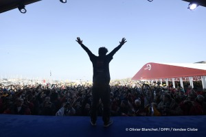Celebration on podium during Finish arrival of Arnaud Boissieres (FRA), skipper La Mie Caline, 10th of the sailing circumnavigation solo race Vendee Globe, in Les Sables d'Olonne, France, on February 17th, 2017 - Photo Olivier Blanchet / DPPI / Vendee Globe