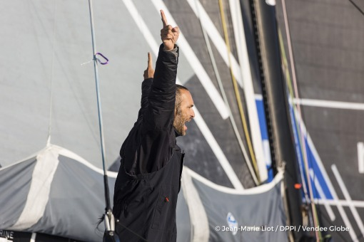 Celebration during Finish arrival of Fabrice Amedeo (FRA), skipper Newrest Matmut, 11th of the sailing circumnavigation solo race Vendee Globe, in Les Sables d'Olonne, France, on February 18th, 2017 - Photo Jean-Marie Liot / DPPI / Vendee GlobeArrivée de Fabrice Amedeo (FRA), skipper Newrest Matmut, 11ème du Vendee Globe, aux Sables d'Olonne, France, le 18 Février 2017 - Photo Jean-Marie Liot /