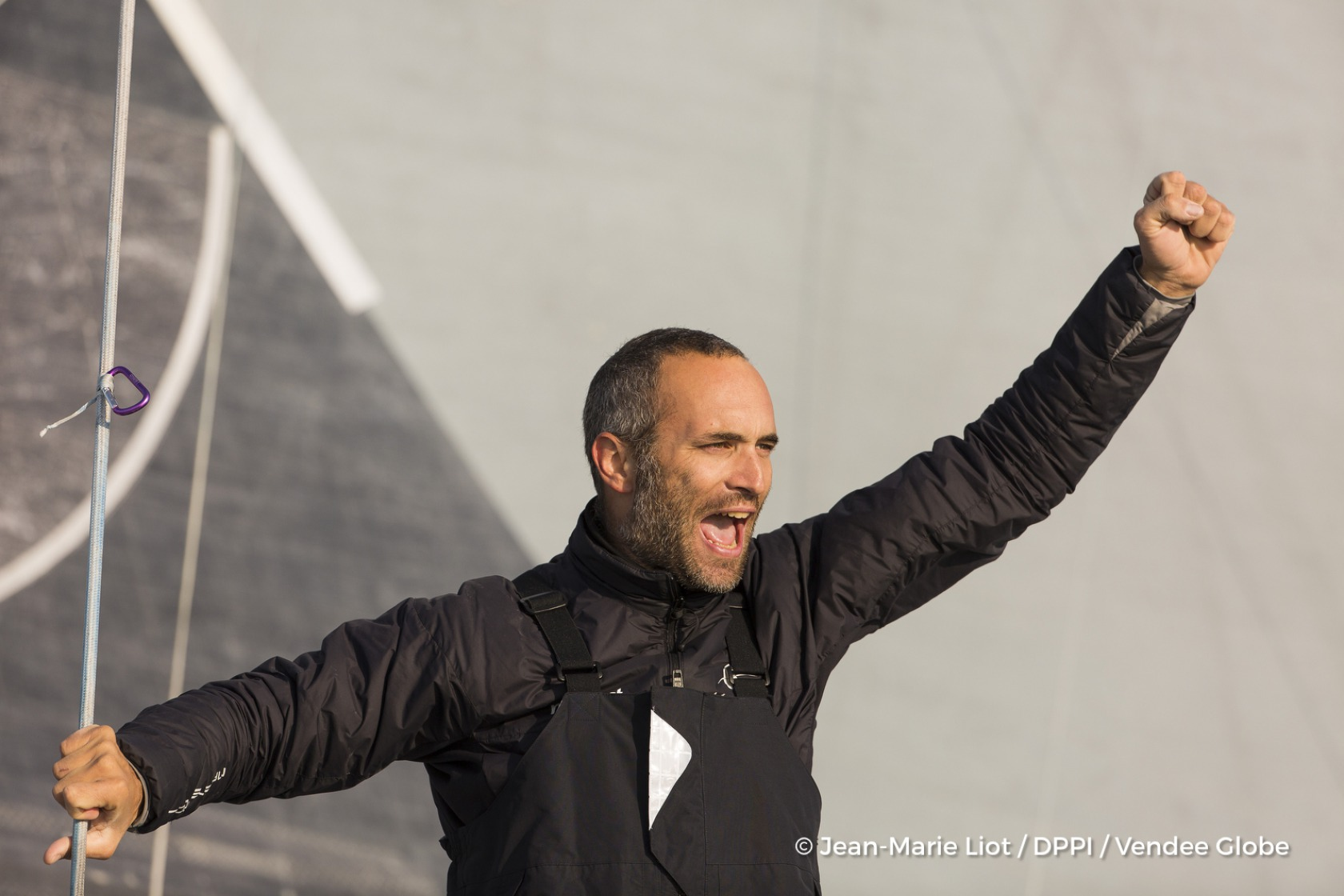 Celebration during Finish arrival of Fabrice Amedeo (FRA), skipper Newrest Matmut, 11th of the sailing circumnavigation solo race Vendee Globe, in Les Sables d'Olonne, France, on February 18th, 2017 - Photo Jean-Marie Liot / DPPI / Vendee Globe