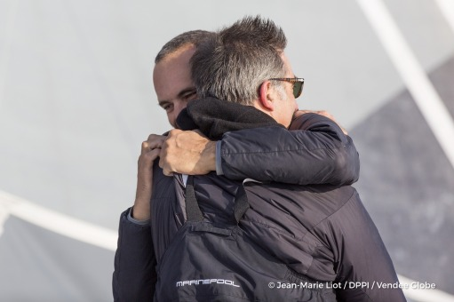 Team celebration during Finish arrival of Fabrice Amedeo (FRA), skipper Newrest Matmut, 11th of the sailing circumnavigation solo race Vendee Globe, in Les Sables d'Olonne, France, on February 18th, 2017 - Photo Jean-Marie Liot / DPPI / Vendee GlobeArrivée de Fabrice Amedeo (FRA), skipper Newrest Matmut, 11ème du Vendee Globe, aux Sables d'Olonne, France, le 18 Février 2017 - Photo Jean-Marie Li