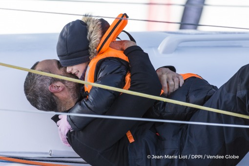 Family during Finish arrival of Fabrice Amedeo (FRA), skipper Newrest Matmut, 11th of the sailing circumnavigation solo race Vendee Globe, in Les Sables d'Olonne, France, on February 18th, 2017 - Photo Jean-Marie Liot / DPPI / Vendee GlobeArrivée de Fabrice Amedeo (FRA), skipper Newrest Matmut, 11ème du Vendee Globe, aux Sables d'Olonne, France, le 18 Février 2017 - Photo Jean-Marie Liot / DPPI