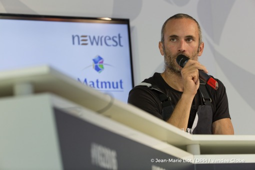 Press conference during Finish arrival of Fabrice Amedeo (FRA), skipper Newrest Matmut, 11th of the sailing circumnavigation solo race Vendee Globe, in Les Sables d'Olonne, France, on February 18th, 2017 - Photo Jean-Marie Liot / DPPI / Vendee GlobeArrivée de Fabrice Amedeo (FRA), skipper Newrest Matmut, 11ème du Vendee Globe, aux Sables d'Olonne, France, le 18 Février 2017 - Photo Jean-Marie Li