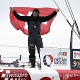 Finish arrival of Alan Roura (SUI), skipper La Fabrique, 12th of the sailing circumnavigation solo race Vendee Globe, in Les Sables d'Olonne, France, on February 20th, 2017 - Photo Olivier Blanchet / DPPI / Vendee GlobeArrivée de Alan Roura (SUI), skipper La Fabrique, 12ème du Vendee Globe, aux Sables d'Olonne, France, le 20 Février 2017 - Photo Olivier Blanchet / DPPI / Vendee Globe