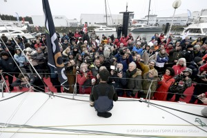 Ambiance channel and pontoon during Finish arrival of Alan Roura (SUI), skipper La Fabrique, 12th of the sailing circumnavigation solo race Vendee Globe, in Les Sables d'Olonne, France, on February 20th, 2017 - Photo Olivier Blanchet / DPPI / Vendee GlobeArrivée de Alan Roura (SUI), skipper La Fabrique, 12ème du Vendee Globe, aux Sables d'Olonne, France, le 20 Février 2017 - Photo Olivier Blanch