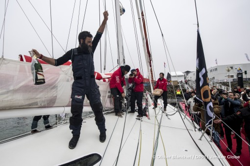 Celebration with Mumm champagne during Finish arrival of Alan Roura (SUI), skipper La Fabrique, 12th of the sailing circumnavigation solo race Vendee Globe, in Les Sables d'Olonne, France, on February 20th, 2017 - Photo Olivier Blanchet / DPPI / Vendee GlobeArrivée de Alan Roura (SUI), skipper La Fabrique, 12ème du Vendee Globe, aux Sables d'Olonne, France, le 20 Février 2017 - Photo Olivier Bla