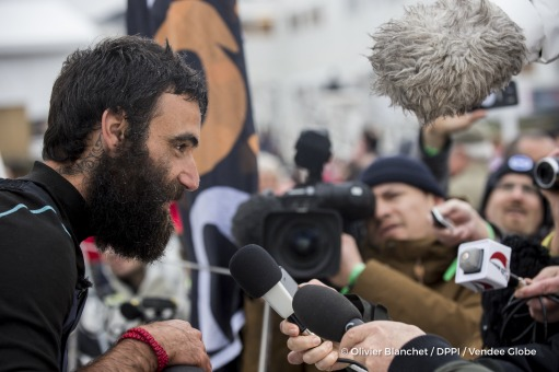 Media at pontoon during Finish arrival of Alan Roura (SUI), skipper La Fabrique, 12th of the sailing circumnavigation solo race Vendee Globe, in Les Sables d'Olonne, France, on February 20th, 2017 - Photo Olivier Blanchet / DPPI / Vendee GlobeArrivée de Alan Roura (SUI), skipper La Fabrique, 12ème du Vendee Globe, aux Sables d'Olonne, France, le 20 Février 2017 - Photo Olivier Blanchet / DPPI /