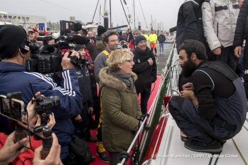 Patricia Brochard (Sodebo President) at pontoon during Finish arrival of Alan Roura (SUI), skipper La Fabrique, 12th of the sailing circumnavigation solo race Vendee Globe, in Les Sables d'Olonne, France, on February 20th, 2017 - Photo Olivier Blanchet / DPPI / Vendee GlobeArrivée de Alan Roura (SUI), skipper La Fabrique, 12ème du Vendee Globe, aux Sables d'Olonne, France, le 20 Février 2017 - P